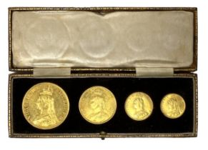 Queen Victoria Golden Jubilee four gold coin set, 1887