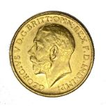 George V gold Sovereign coin, 1912, Melbourne mint