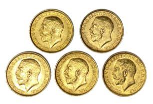 George V five gold Sovereign coins, 1911,