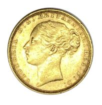 Queen Victoria gold Sovereign coin, 1880