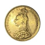 Queen Victoria gold Sovereign coin, 1889