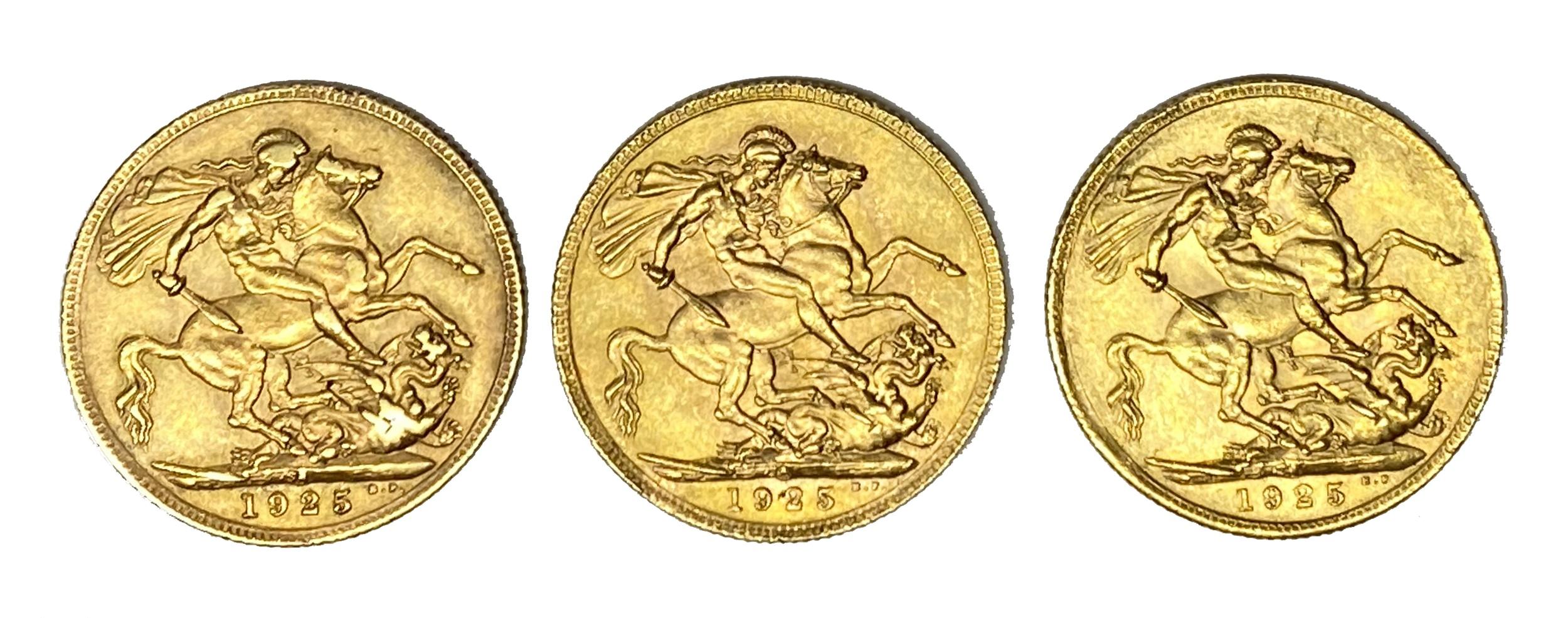 George V three gold Sovereign coins, 1925, Pretoria mint - Image 2 of 2