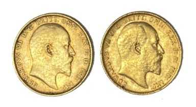 Edward VII two gold Sovereign coins, 1902 & 1903, Perth mint,
