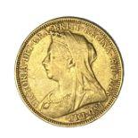 Queen Victoria gold Sovereign coin, 1894