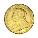 Queen Victoria gold Sovereign coin, Perth mint, 1900