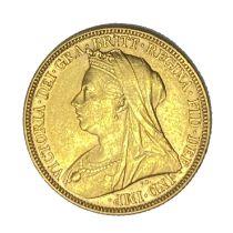 Queen Victoria gold Sovereign coin, 1896