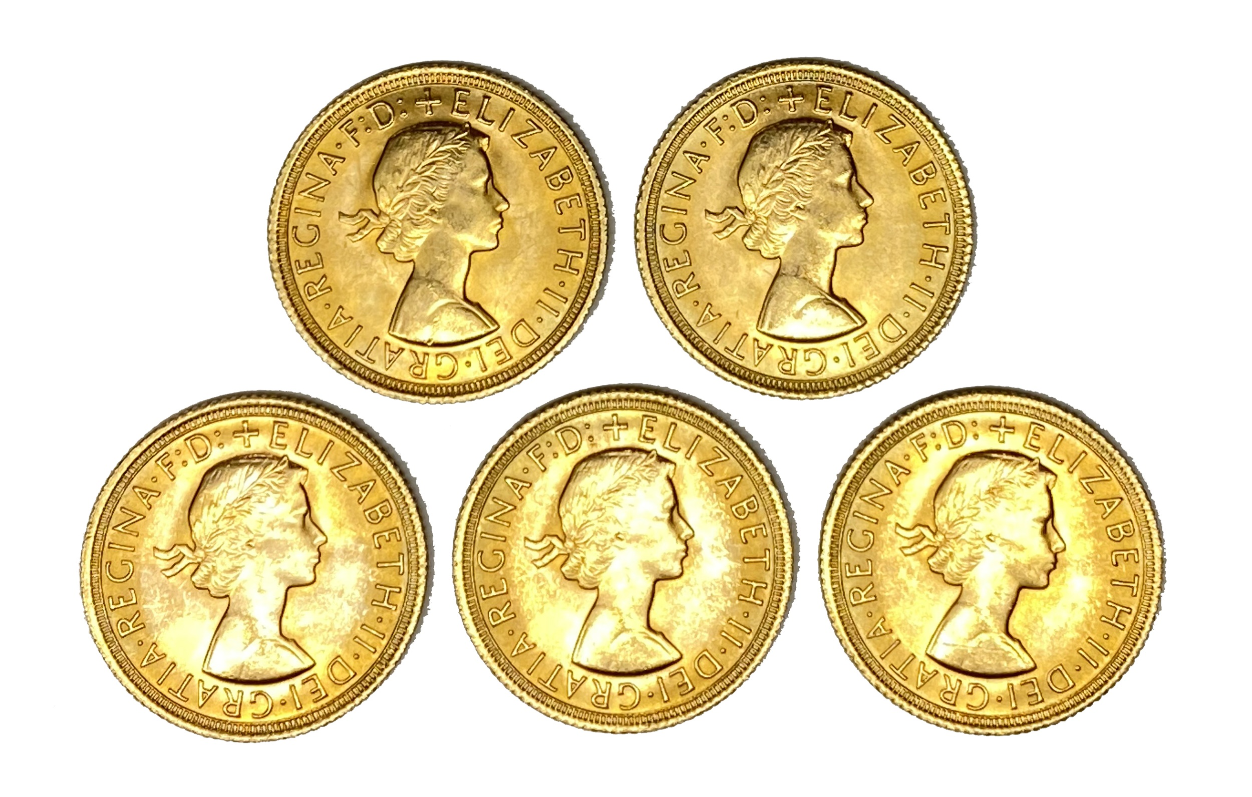 Elizabeth II five gold Sovereign coins, 1967
