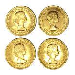 Elizabeth II four gold Sovereign coins, 1966