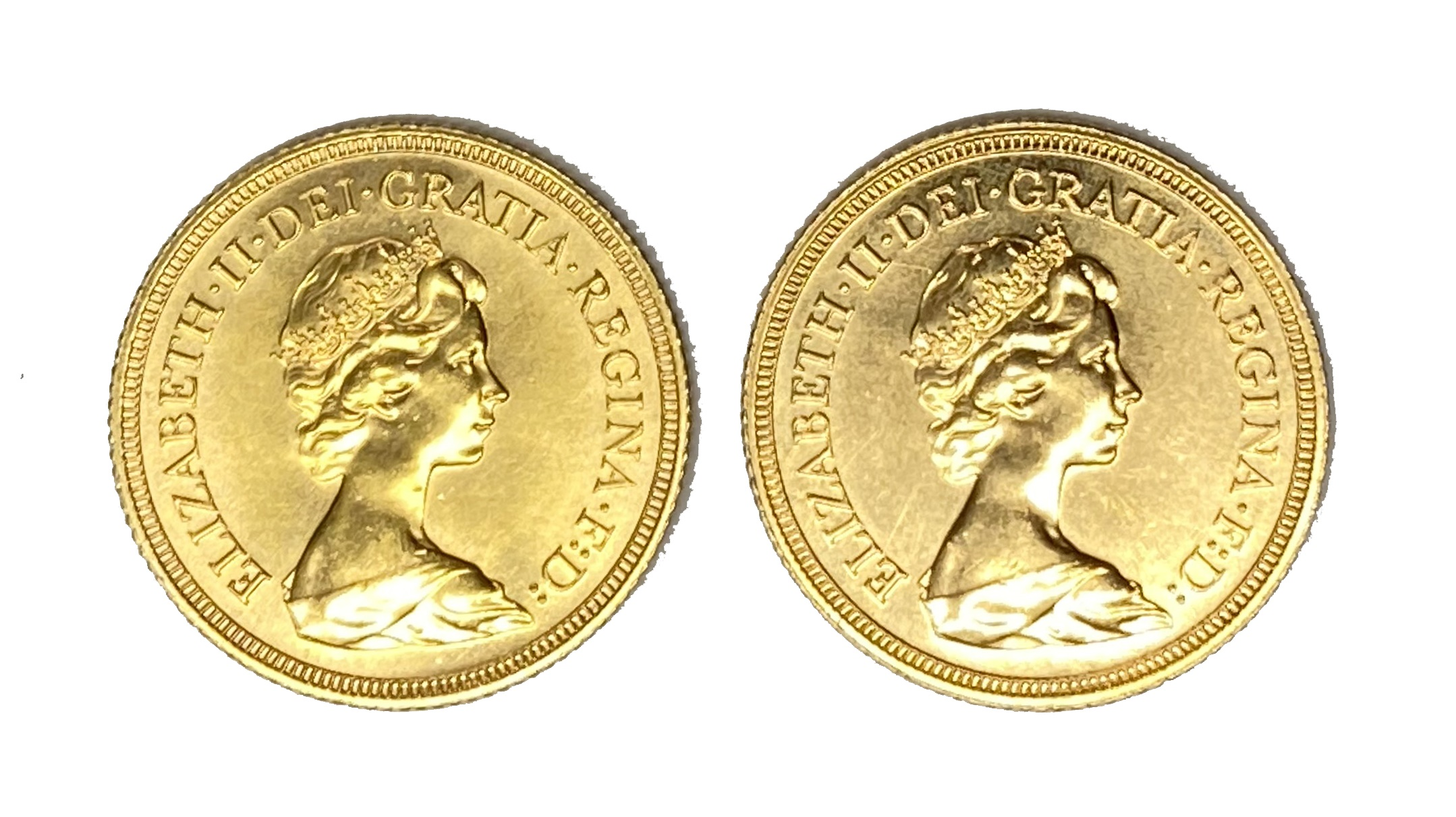 Elizabeth II two gold Sovereign coins, 1981