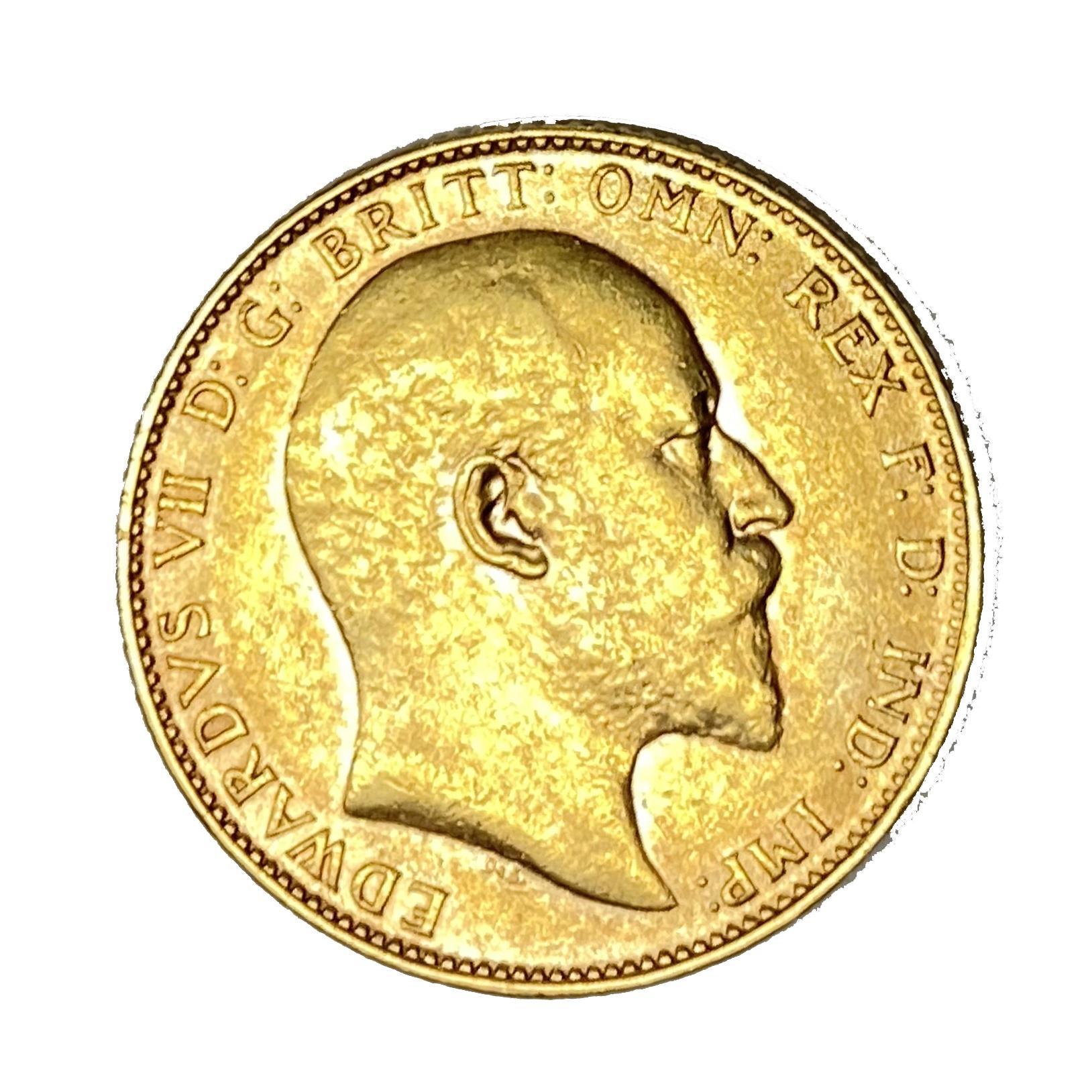 Edward VII gold Sovereign coin, 1907