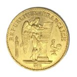 French Republic 20 Franc gold coin, 1875