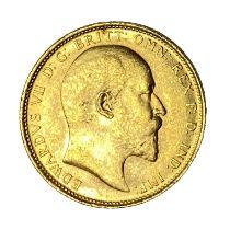 Edward VII gold Sovereign coin, 1910, Melbourne mint