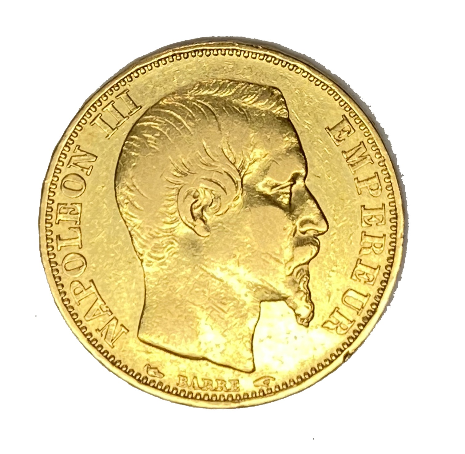 French Empire 20 Franc gold coin, Napoleon III, 1853