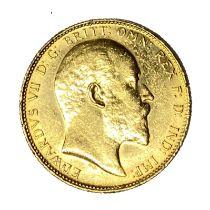 Edward VII gold Sovereign coin, 1908, Sydney mint