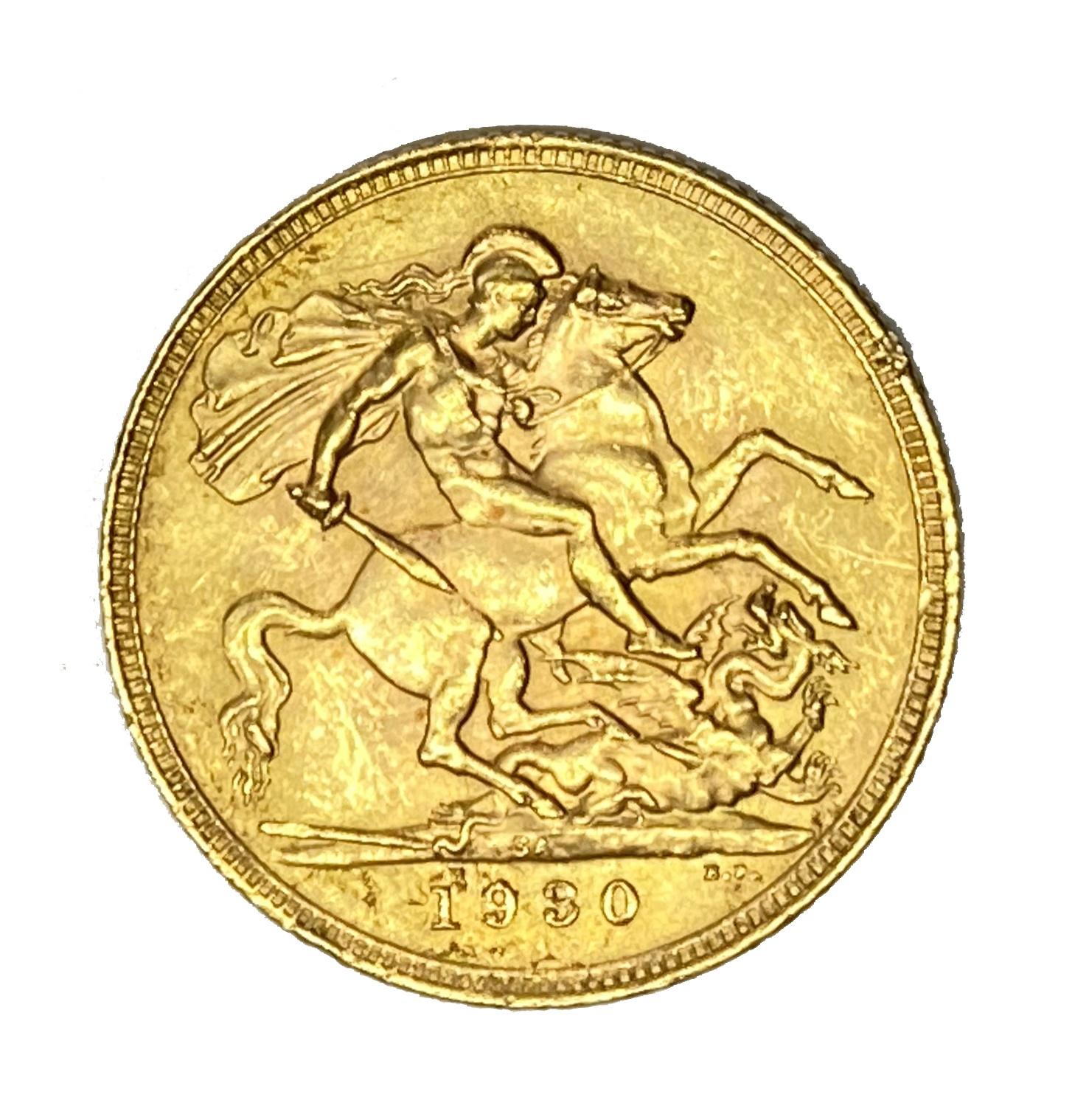 George V gold Sovereign coin, 1930, Pretoria mint - Image 2 of 2
