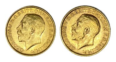George V two gold Sovereign coins, 1911