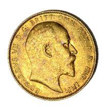 Edward VII gold Sovereign coin, 1908
