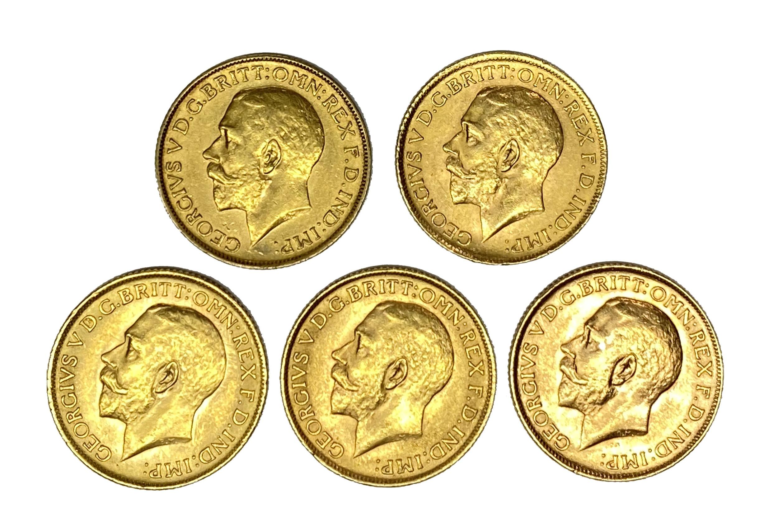 George V five gold Sovereign coins, 1913