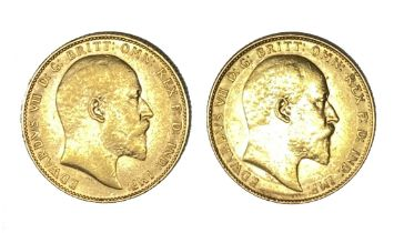 Edward VII two gold Sovereign coins, 1909