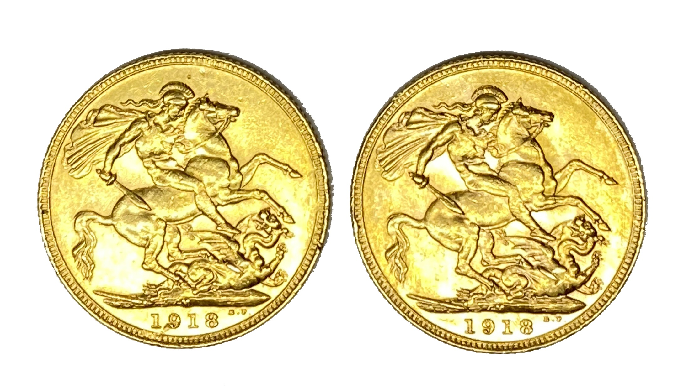 George V two gold Sovereign coins, 1918, Melbourne mint - Image 2 of 2