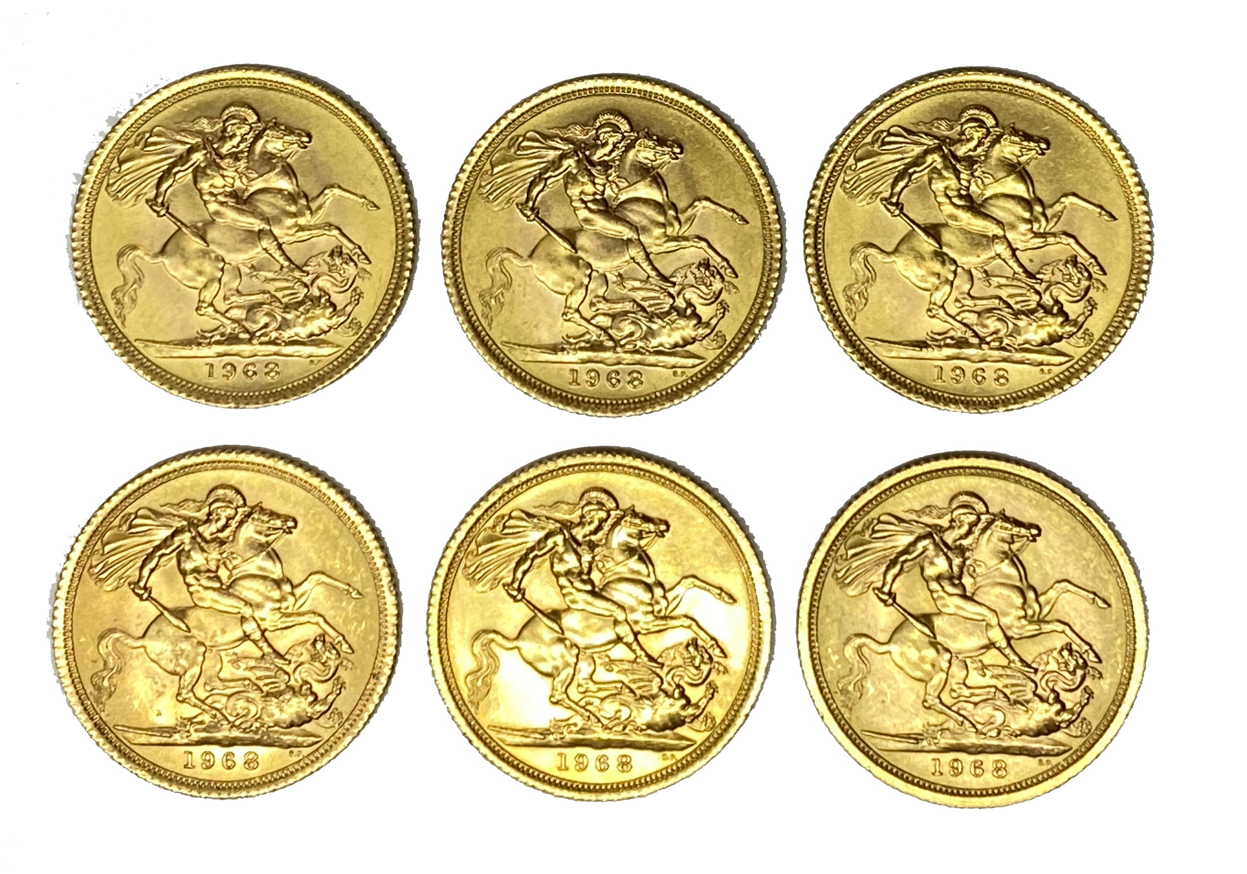 Elizabeth II six gold Sovereign coins, 1968 - Image 2 of 2