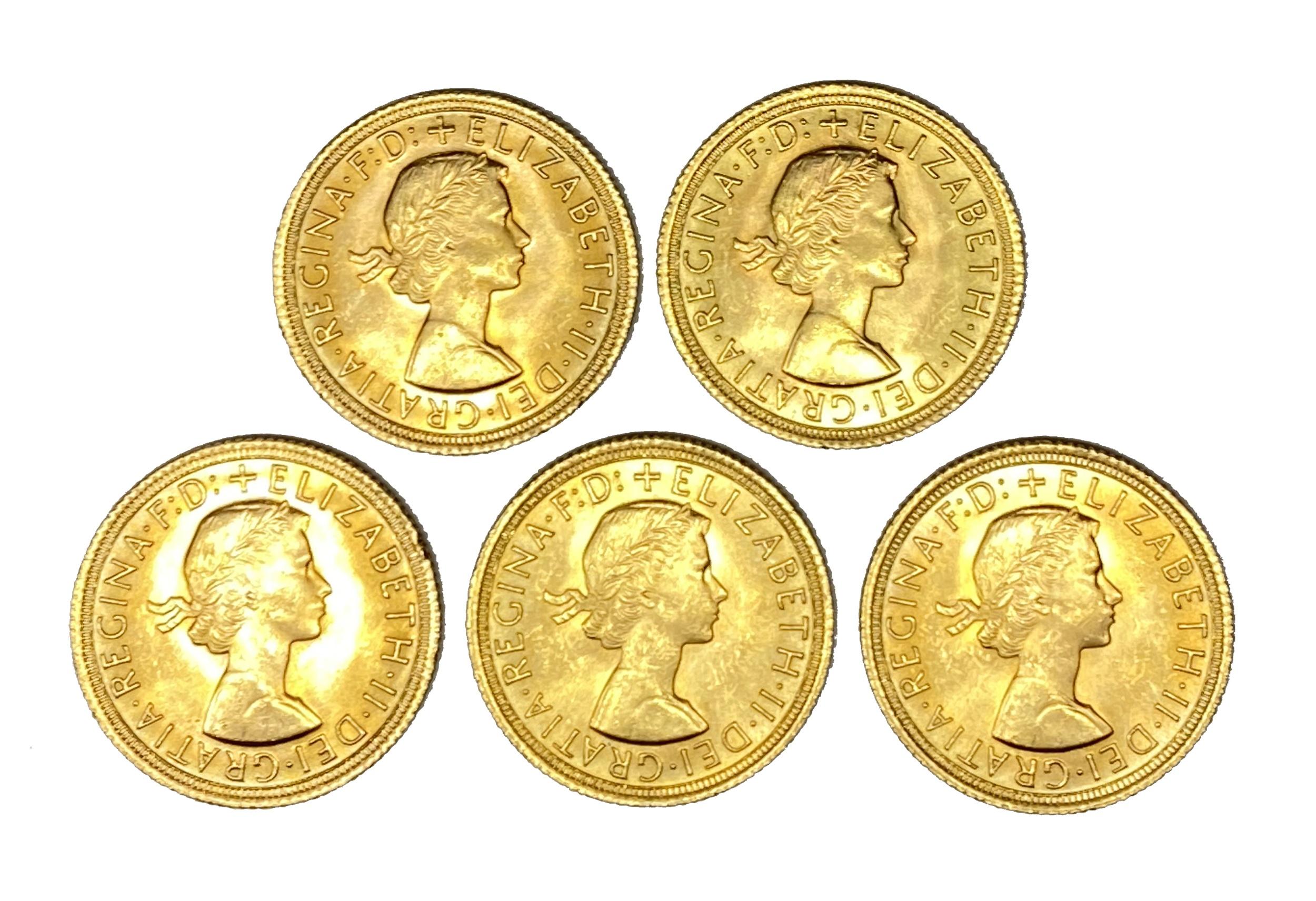 Elizabeth II five gold Sovereign coins, 1966
