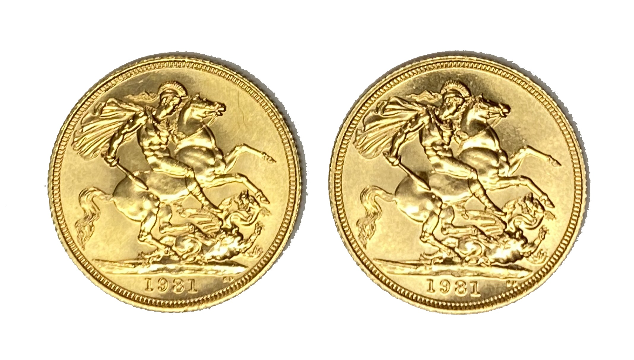 Elizabeth II two gold Sovereign coins, 1981 - Image 2 of 2