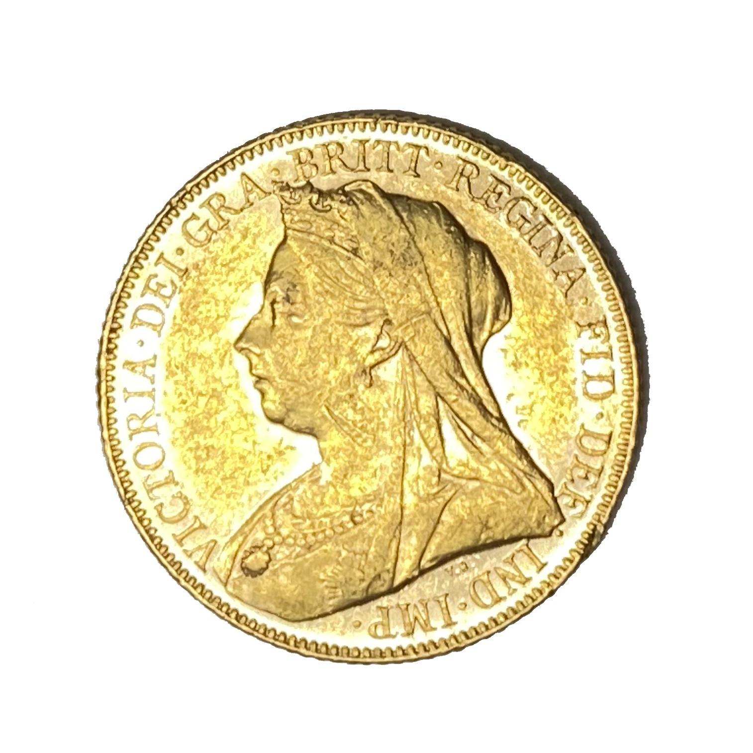 Queen Victoria gold Sovereign coin, 1900