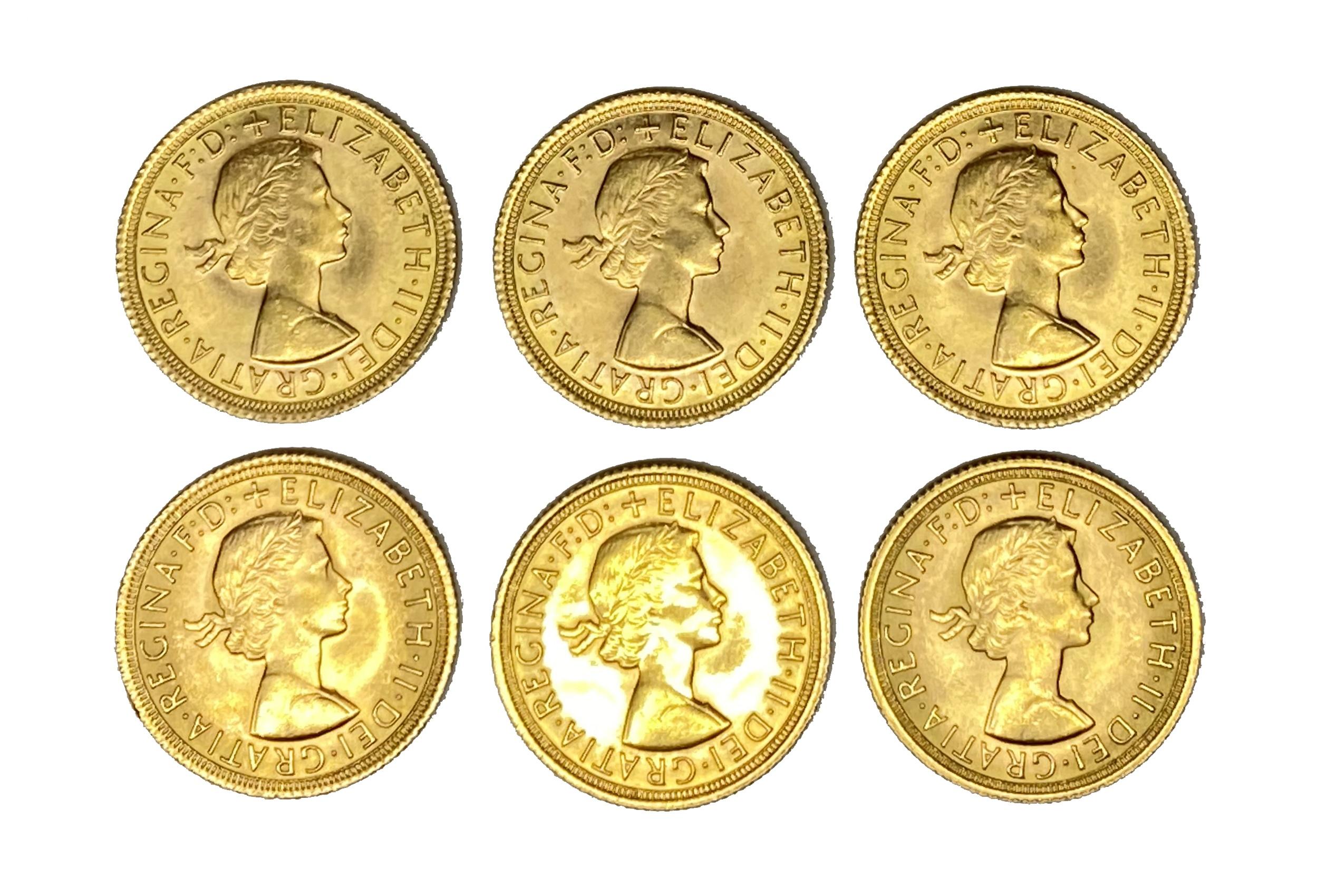 Elizabeth II six gold Sovereign coins, 1968