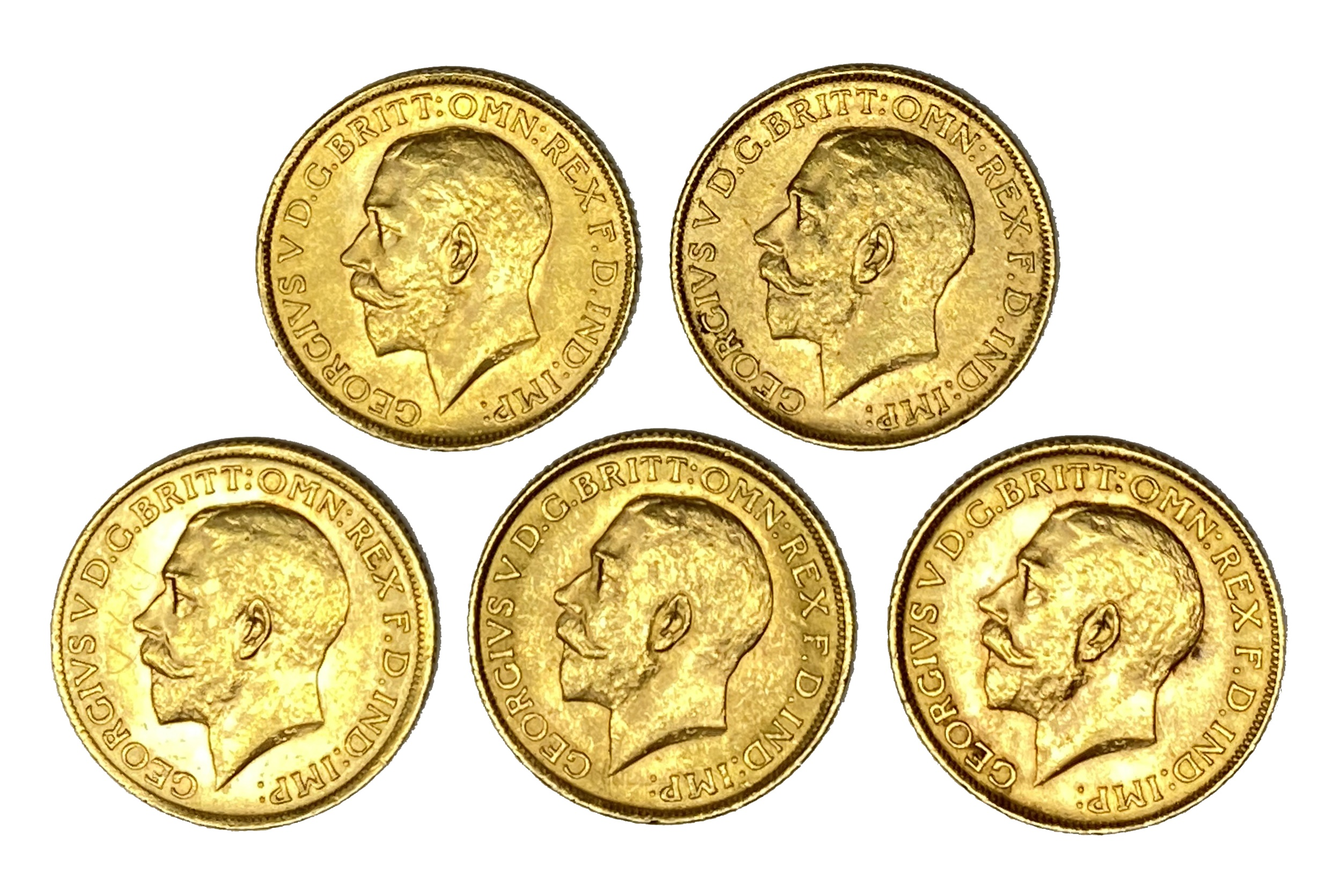 George V five gold Sovereign coins, 1913,