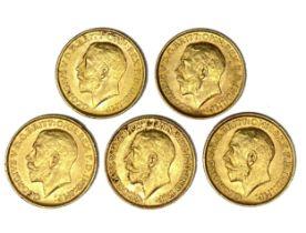 George V five gold Sovereign coins, 1911
