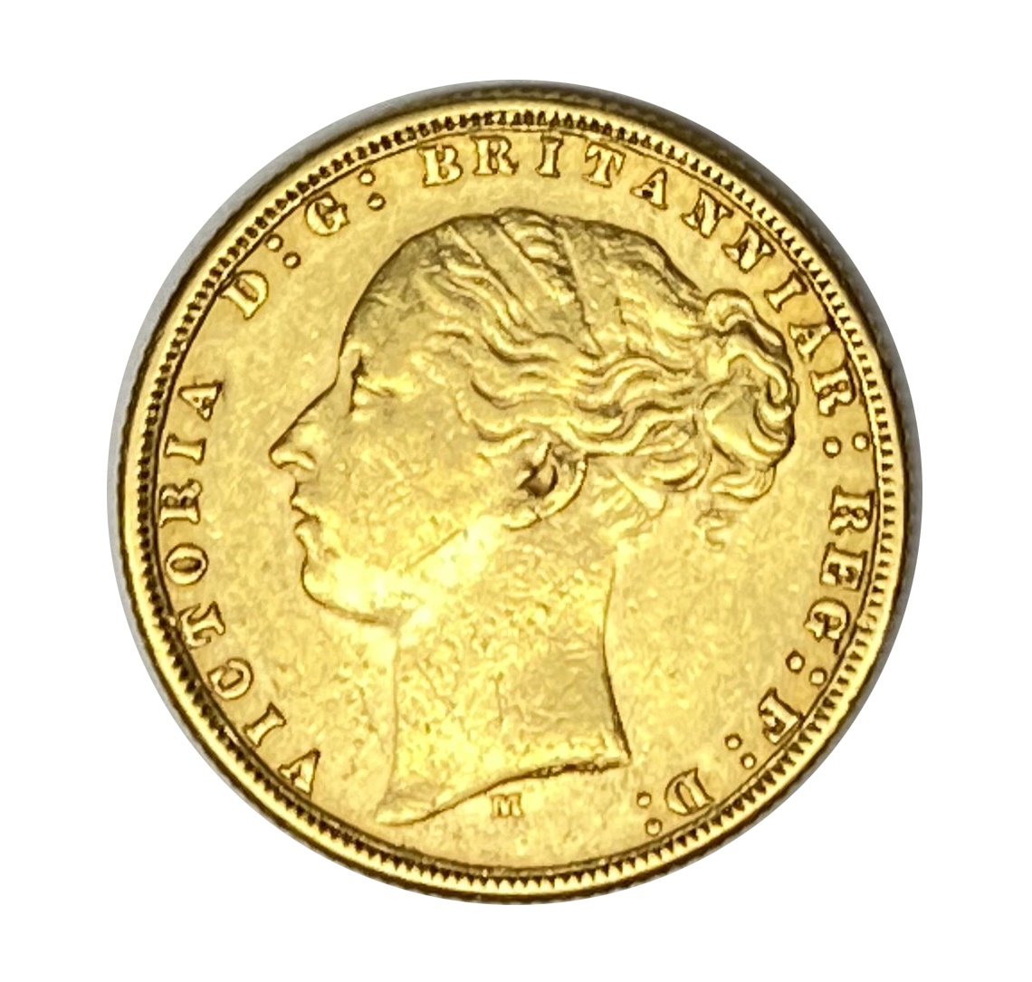 Queen Victoria gold Sovereign coin, 1876