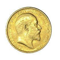 Edward VII gold Sovereign coin, 1904