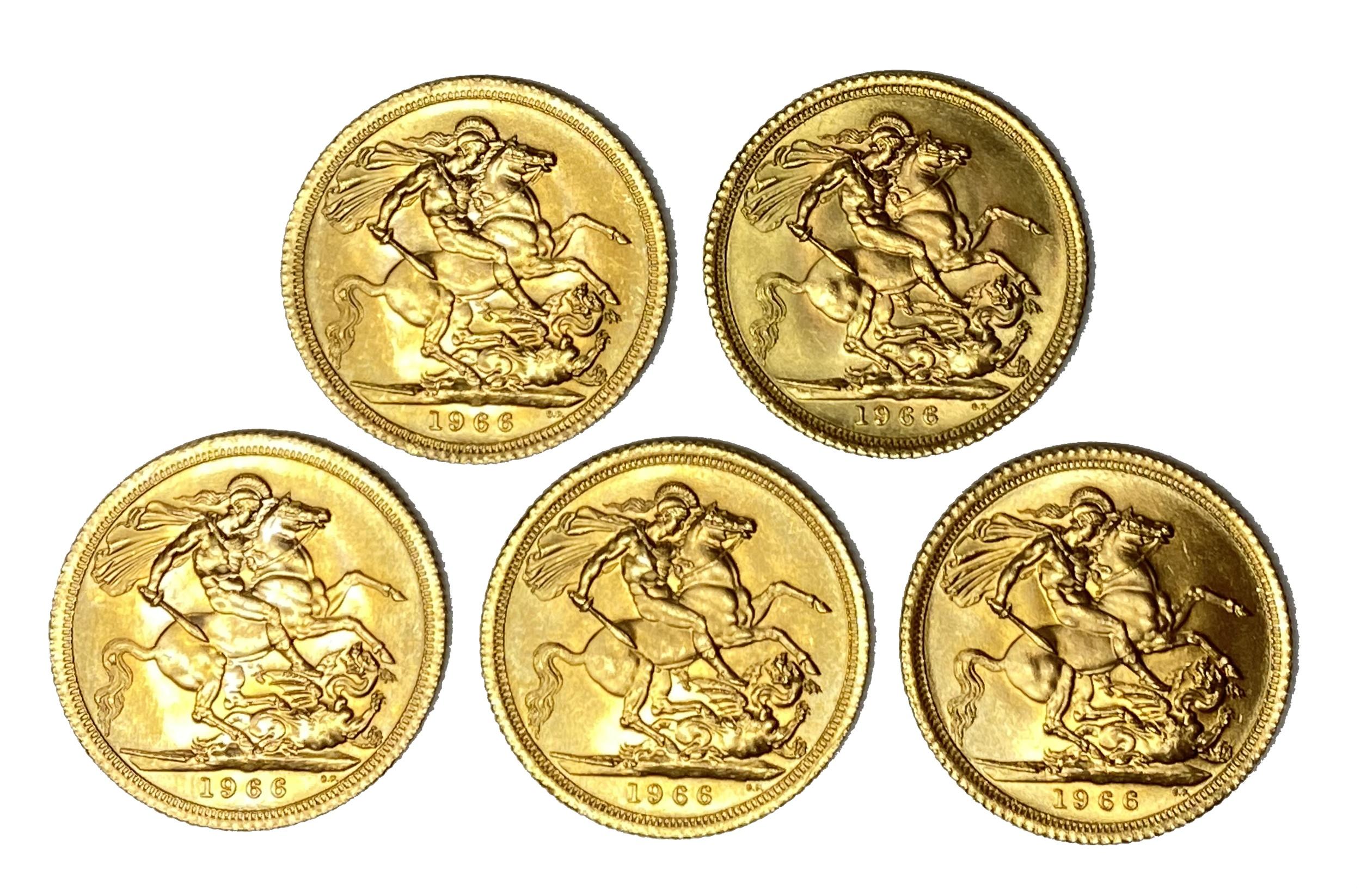 Elizabeth II five gold Sovereign coins, 1966 - Image 2 of 2