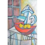 Philip Vencken - Still Life, Apples in red bowl with pitcher