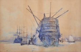 Charles Edward Dixon, Sailing ship and smaller vessels in a harbour