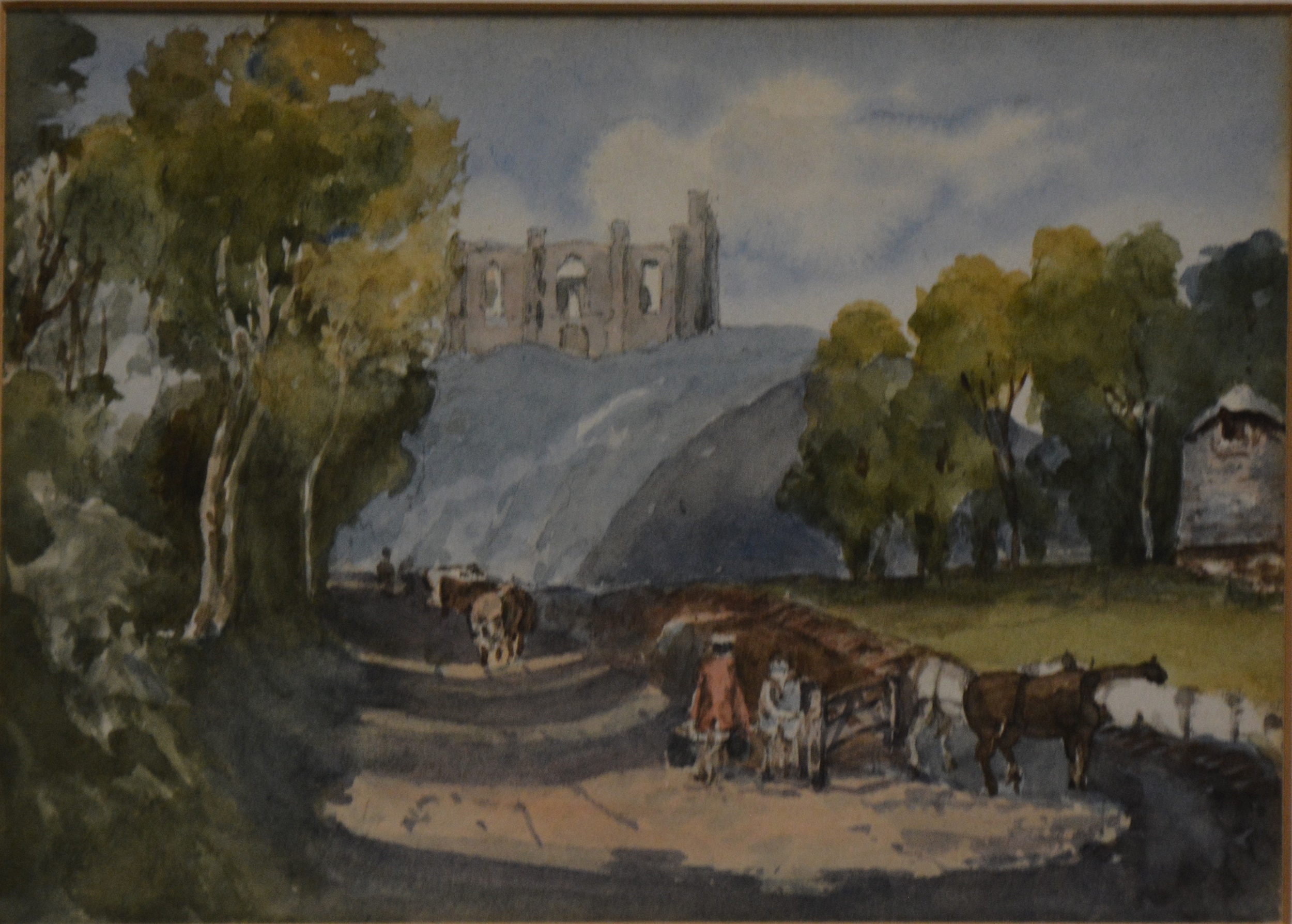 English School, Landscape with figures and Abbey ruins