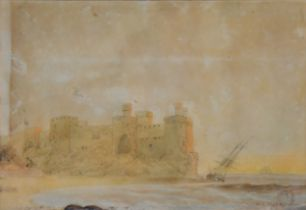 Attributed to William Adolphus Knell, Coastal castle with beached tall ship