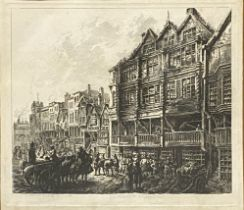 C Cuitt, Old Bridge Street, thought to be Northampton, etching, The Port of Glasgow.