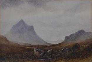 H Strutt, Mountainous landscape with cattle