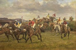 Frederick J Haycock. The Grand National at Becher's Brook.