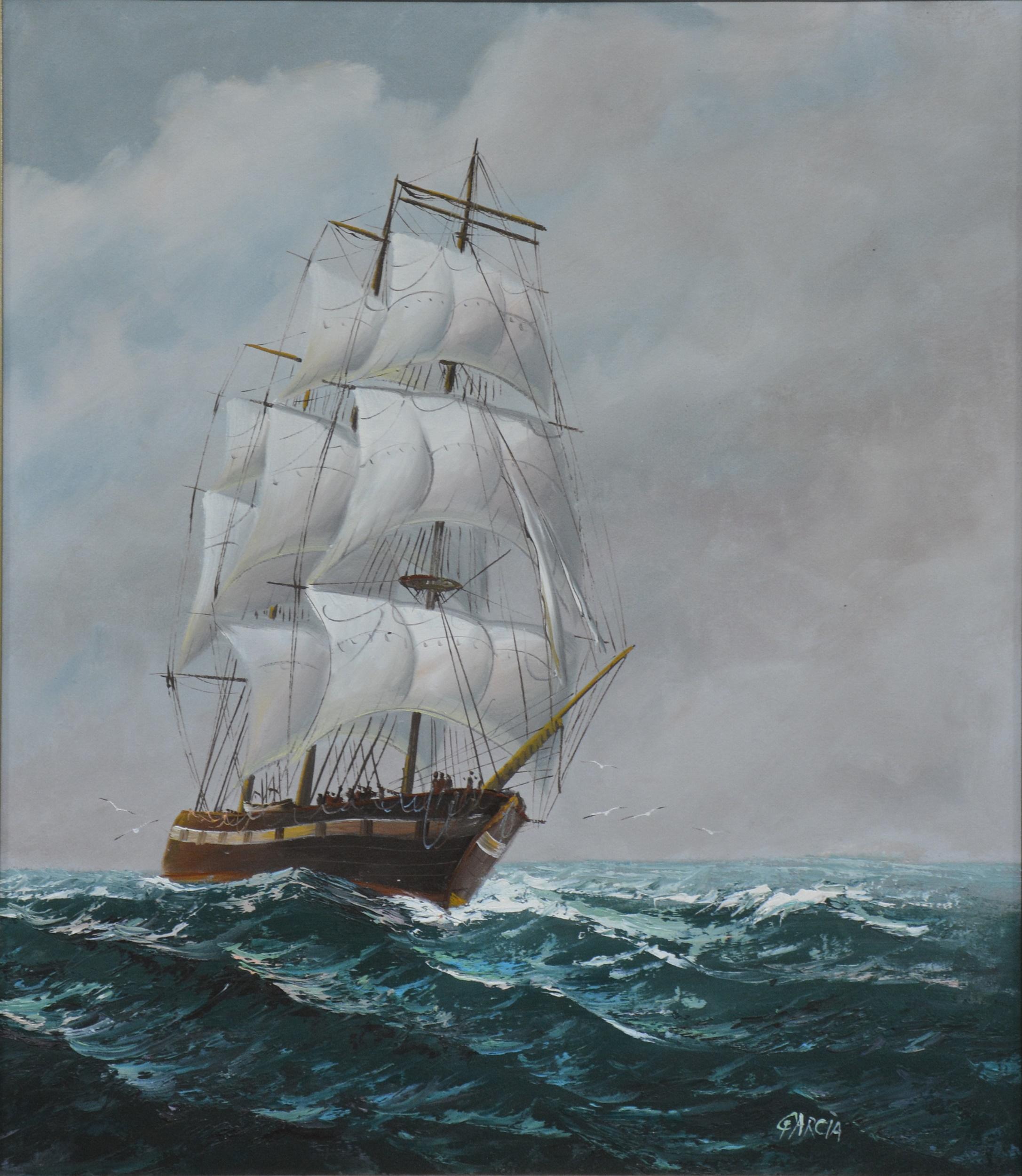 Garcia (Contemporary) - Galleon at Sea - Image 2 of 4