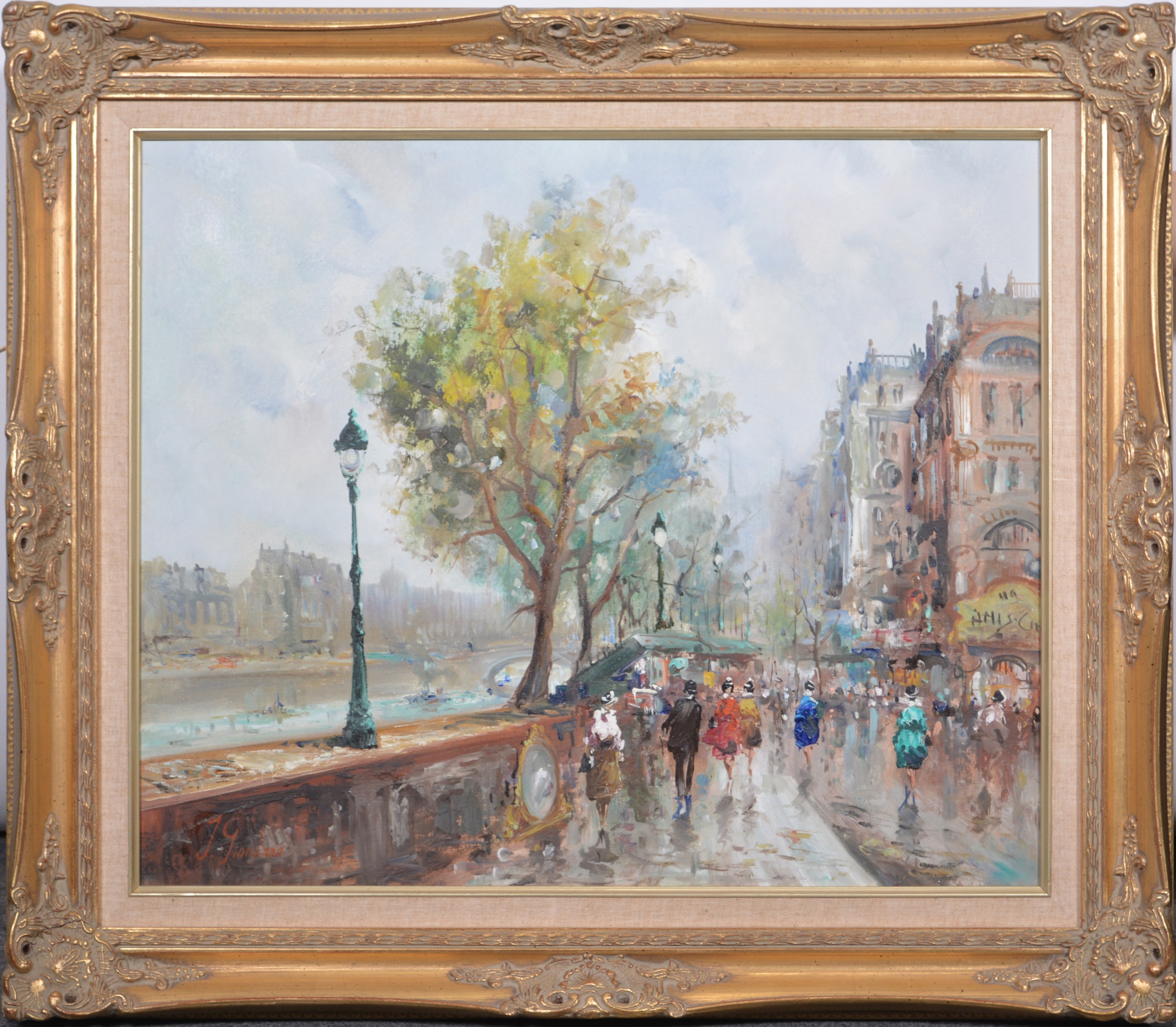 J Giordano, By the River Seine, - Image 2 of 4