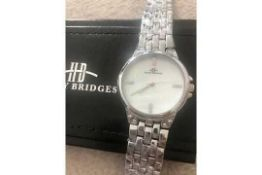 RRP £385 Ladies Henry Bridges Harrington Steel White Watch With Alloy Strap