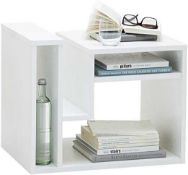 RRP £80. Boxed New Fmd Fritz Contemporary Side Table In White (Appraisals Available On Request)(