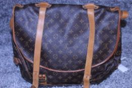 RRP £1,500 Louis Vuitton Saumur Double Strap Shoulder Bag, Brown Monogram Canvas, Vachetta