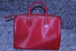RRP £2900 Louis Vuitton Speedy Black Stitched Handbag In Red Leather. Condition Rating A (