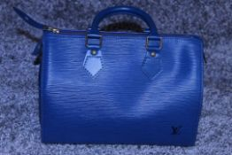 RRP £1,000 Louis Vuitton Speedy 25 Handbag, Blue Epi Calf Leather, 27X19X15Cm (Production Code