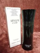 RRP £70 Boxed 75Ml Tester Bottle Of Giorgio Armani Armani Code Edt Spray