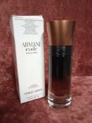 RRP £75 Boxed 60 Ml Tester Bottle Of Armani Code Profumo Parfum Spray